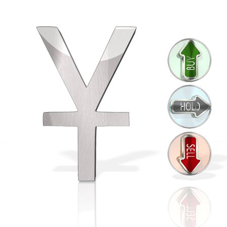 stock market China Yuan Renminbi sign with three analysis buttons 3d rendered and isolated on white background