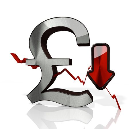 3d rendered icon of United Kingdom Pound with down stock market trend arrows in stylish silver metal isolated on white background Stock Photo