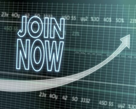 join now: successful investmanet chart with a join now icon on a stock market table with rising graph arrow