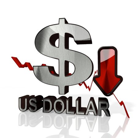 3d rendered icon of United States Dollar with down stock market trend arrows in stylish silver metal isolated on white background