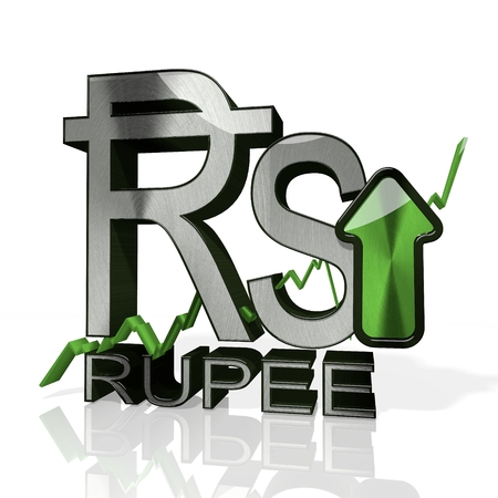 3d rendered sign of Rupee currency with up stock market trend arrows in stylish silver metal isolated on white background