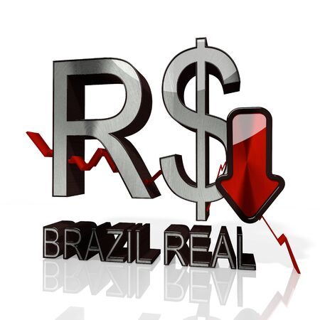 3d rendered sign of Brazil Real with down stock market trend arrows in stylish silver metal isolated on white background