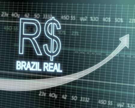 successful investmanet chart with a Brazil Real symbol on a stock market table with rising graph arrow