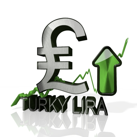3d rendered symbol of Turkey Lira currency with up stock market trend arrows in stylish silver metal isolated on white background