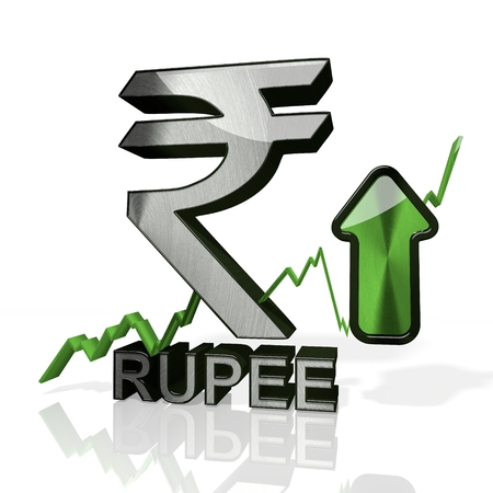 3d rendered icon of India Rupee currency with up stock market trend arrows in stylish silver metal isolated on white background