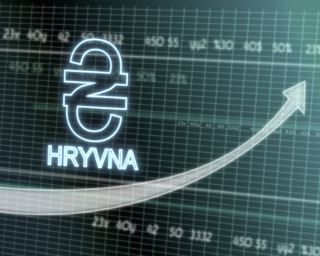 hryvna: successful investmanet chart with a Ukraine Hryvna sign on a stock market table with rising graph arrow Stock Photo