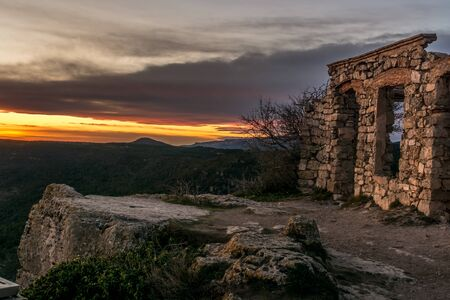 Beautiful views from an abandoned village in the mountains near the village of Prades. Located to 990Mts of height and on clear days one can see the river Until Ebre. From here you can see a magnificent and spectacular views