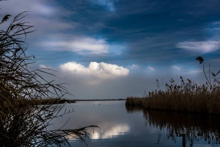 Dramatic view of the river Ebre With cloudy sky Stock Photo