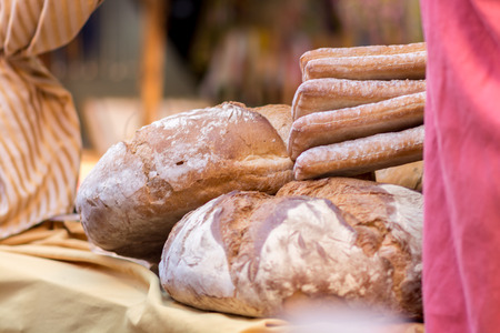 Natural Fresh baked bread ready to taste the natural food market During. Natural Fresh baked bread is a must During a typical food and craft fairs, and They are made in many forms and tastes. The so-called round bread is The most common type of bread sold Stock Photo