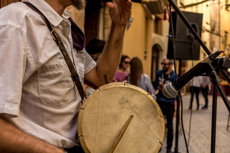 Local and regional music bands are very frequent in Spain where each region has its own musical traditions. With the excuse of any of the local festivals these orchestras or bands of music take to the streets because they are part of the festivities Stock Photo