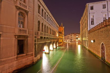 The Soul of Venice Long exposure by Night  Blurred motion of boats due to waves  photo