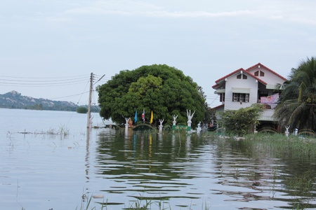 Thailand flooded, Ban Mi district, Lopburi, Thailand at 2 October 2011 Stock Photo - 11045157
