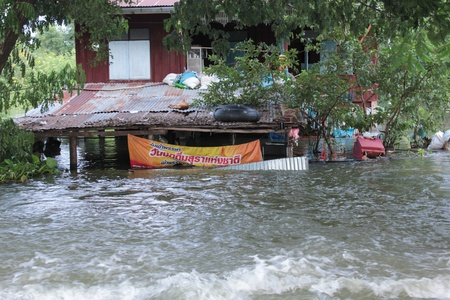 Thailand flooded, Ban Mi district, Lopburi, Thailand at 2 October 2011 Editorial