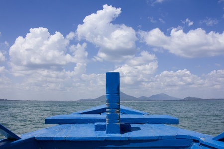Boat at sea and blue sky