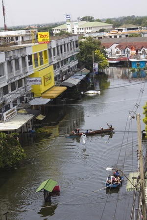 tollway: BANGKOK-NOV 5:Flood hits Bangkok areas around Tollway, Thaninthon Village affected by flood on November 5, 2011 on vibhavadee Rd,Thailand (Donmuang Area)