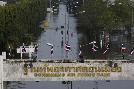 tollway: BANGKOK-NOV 5:Flood hits Bangkok areas around Tollway,  Donmuang air force base affected by flood on November 5, 2011 on vibhavadee Rd,Thailand (Donmuang Area)