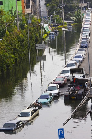 affected: BANGKOK-NOV 5:Flood hits Bangkok areas around Tollway, higher water levels than expected,Donmuang Airport affected by flood on November 5, 2011 on vibhavadee Rd,Thailand (Donmuang Area)