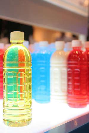 bottle label: Plastic bottles in various colors
