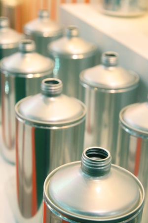 Aluminum cans in manufacturing industry photo