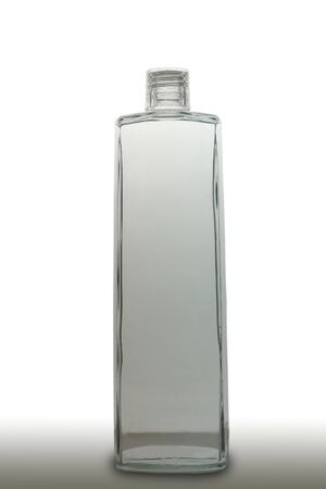 vodka: Clear Bottle on white background Stock Photo