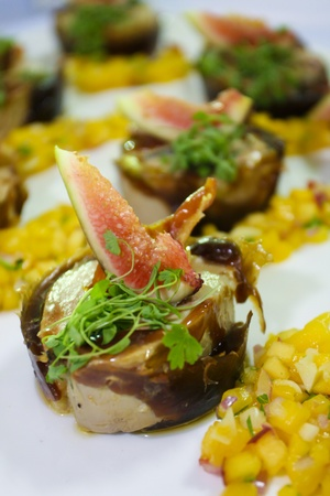 Foie Gras with sauce and sweet corn photo