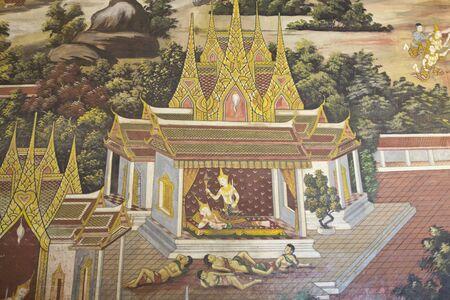 nu: Ramayana paintings on the wall, Wat Phra Si Mahathat ,Phit Sa Nu Lok ,Thailand Editorial