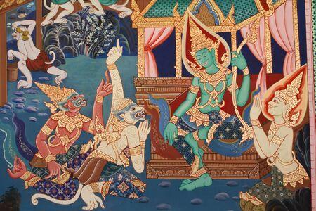 nu: Ramayana paintings on the wall, Wat Nangphaya ,Phit Sa Nu Lok ,Thailand