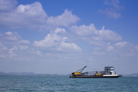 maneuverable: Crane car on a ship at sea Stock Photo
