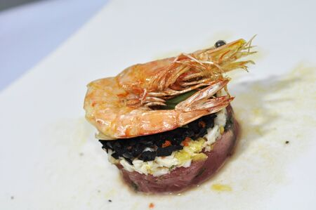 Creative cuisine, sushi rice with shrimp photo