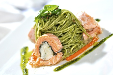 spaghetti with stuffed salmon