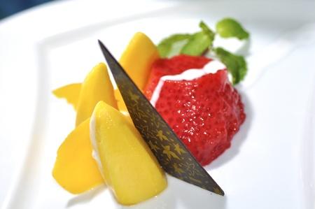 dessert, mango and strawberry with coconut milk photo