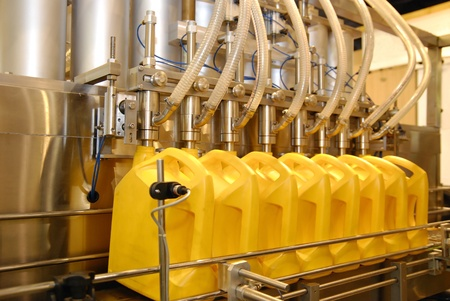 bottling line: liquid filling machines in industry plant