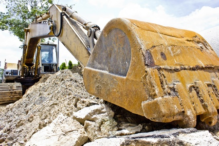 excavator loader machine during works outdoors at construction site Stock Photo - 13763580