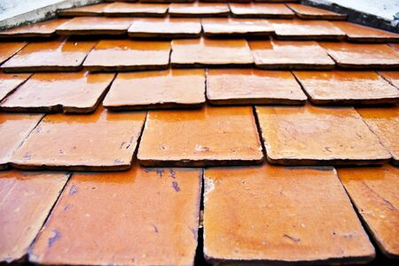 Depth of field in Ceramic roof tiles photo