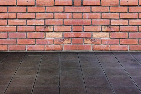 Brick Wall And Ceramic Tiles Floor Stock Photo Picture And Royalty