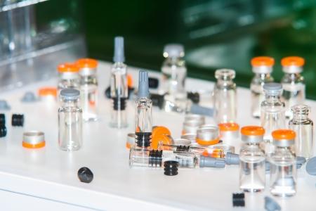 pharmaceutical plant: drugs glassware bottles