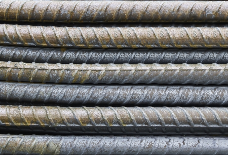 reinforcing bar: close-up steel bars background Stock Photo