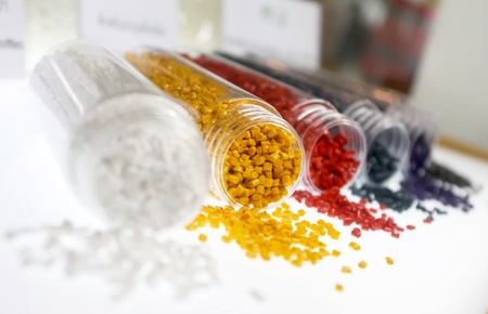 Colorful of plastic polymer granules  Standard-Bild