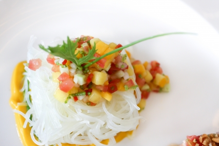 vermicelli: Fresh fruits salad with cellophane noodles
