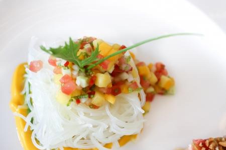 cellophane: Fresh fruits salad with cellophane noodles