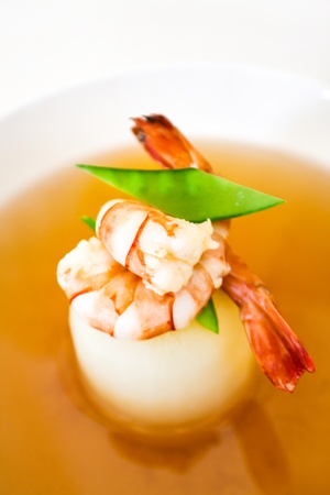 bean curd: Clear Soup with Bean Curd and shrimps Stock Photo