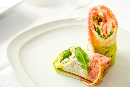Sandwich rolls with vegetables and chicken photo