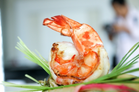 Closeup of shrimp in padthai photo