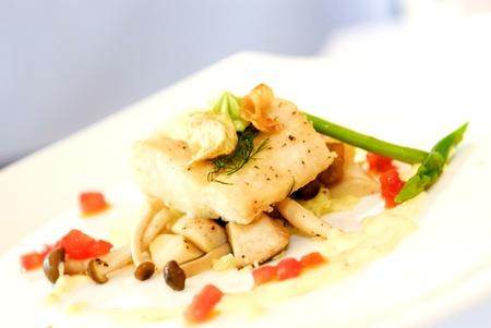 Fresh steam fish with mushroom sauce