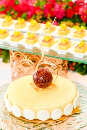 Beautiful vanila cake in the dessert cocktail background photo