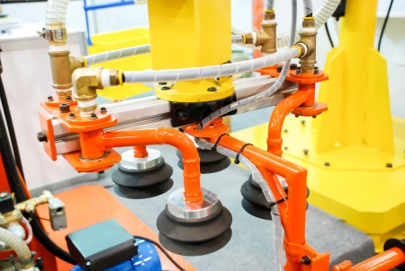 Closeup of robotic for move package in logistic warehouse photo