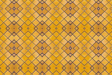 blue white kitchen: Yellow mosaic tiles floor