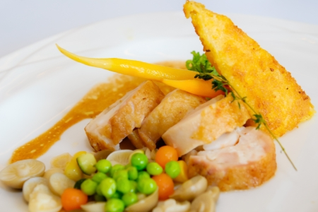 Grilled chicken breast with vegetables photo