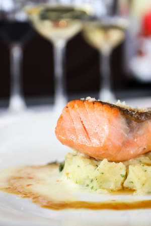 Grilled Salmon with mashed potato photo