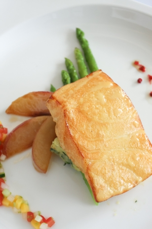 Grilled salmon with side dishes photo